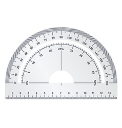Silver protractor on white background vector image