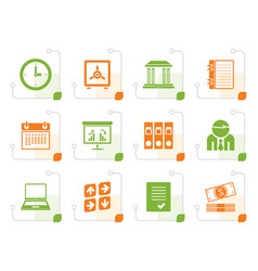 stylized business finance and office icons vector image