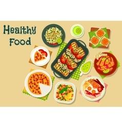 Tasty food for breakfast menu icon design vector image vector image