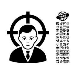 Victim businessman flat icon with bonus vector