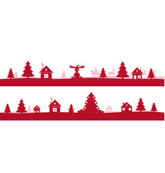 winter red holidays landscape with christmas trees vector image vector image