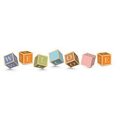 Word welcome written with alphabet blocks vector