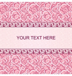 Pink vintage card with floral ornament background vector