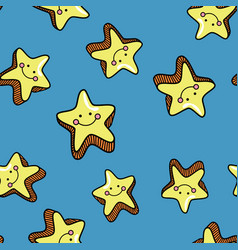 Seamless pattern with cute smiling stars on blue vector
