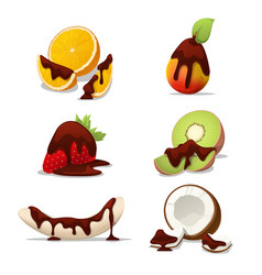 Delicious fruits banana and orange in chocolate vector