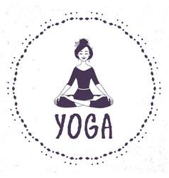yoga lotus silhouette vector image