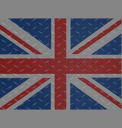 Union jack flag over metallic diamond plate vector