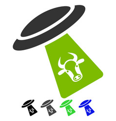 Cattle ufo abduction flat icon vector