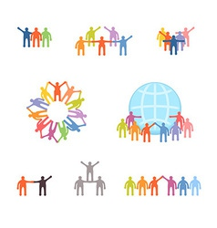 Icons set of successful teamwork and cooperation vector