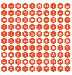100 beauty product icons hexagon orange vector