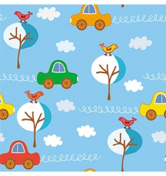 Seamless cute cars winter pattern vector