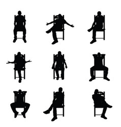 Man silhouette sitting on chair set in black color vector