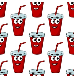 Cartoon takeaway beverage seamless pattern vector