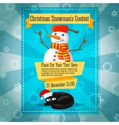 Merry christmas cute retro contest invitation or vector