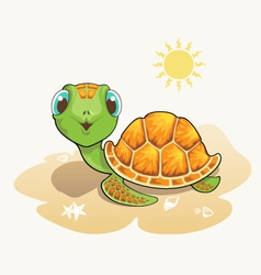 Cute turtle cartoon on the beach vector