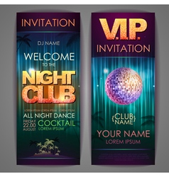 Set of disco background banners night club poster vector