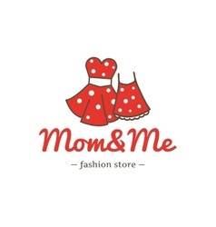 Retro style dresses for mother and daughter vector