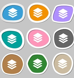 Layers icon sign multicolored paper stickers vector