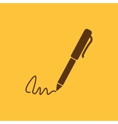 The signature icon pen and undersign underwrite vector