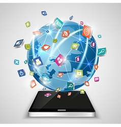 Touchscreen smartphone globe and social media vector
