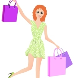 -girl with shopping vector