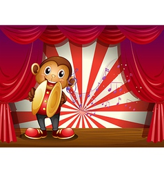 A monkey with cymbals and musical notes at the vector image