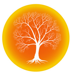 Abstract tree with bare branches on an orange vector