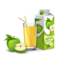 Apple juice set vector