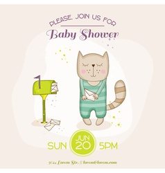 Baby cat with mail - baby shower or arrival card vector