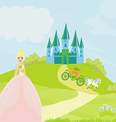 Beautiful young princess holding a big frog vector image