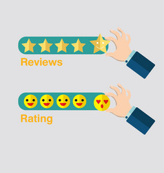 business hand with star icon for reviews hand vector image vector image