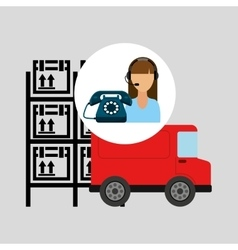 Call centre woman working warehouse truck vector