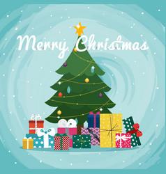 christmas tree with gifts christmas greeting card vector image