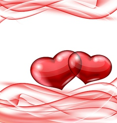 Cute hearts Valentine wavy background vector image vector image