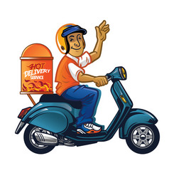 delivery man with scooter vector image