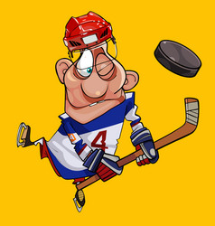 funny cartoon hockey player with stick and puck vector image vector image