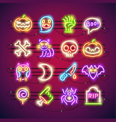 Halloween colorful neon icons vector