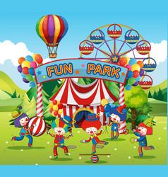 Happy clowns in fun park vector