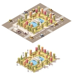 isometric low poly urban park vector image