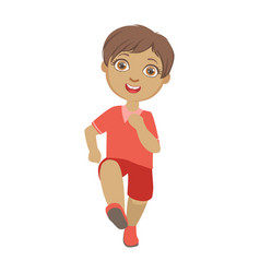 Little boy running boy in motion front view a vector