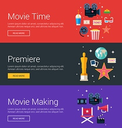 Movie time premiere movie making flat design vector