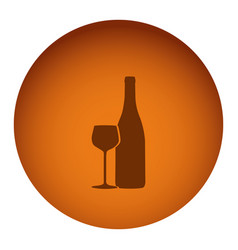 Orange emblem wine bottle with glass icon vector