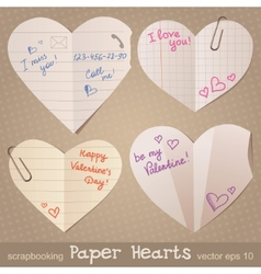 paper hearts vector image vector image
