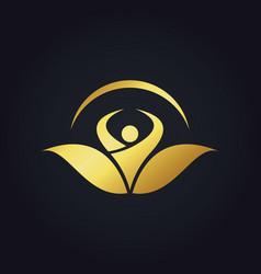 people organic botany vegetarian gold logo vector image vector image