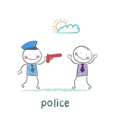 police with a gun against a criminal vector image vector image