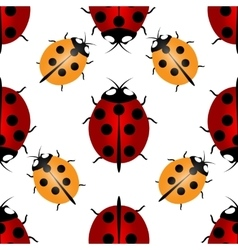 Red and yellow ladybugs with seven and five points vector image vector image