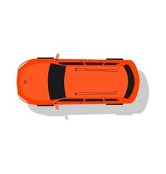 Red car top view flat design vector
