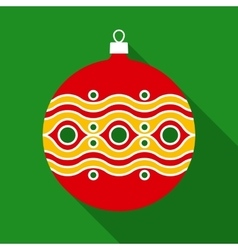 Red Christmas Ball in Flat Style with Long Shadows vector image vector image