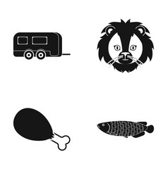 River water tourism and other web icon in black vector