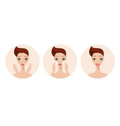 skincare and acne treatment steps girl applying vector image